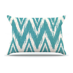 "Kess InHouse - Heidi Jennings ""Tribal Chevron Aqua"" Pillow Case, King (36"" x 20"") - This pillowcase, is just as bunny soft as the Kess InHouse duvet. It's made of microfiber velvety fleece. This machine washable fleece pillow case is the perfect accent to any duvet. Be your Bed's Curator."