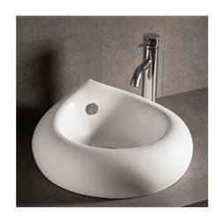 Whitehaus - Isabella Teardrop Sink - Faucet not included. Above mount basin with overflow. Center drain. Matching wall mount counter top. Made from porcelain. White color. Inside: 12.25 in. W x 11 in. D x 3.5 in. H. Overall: 18.5 in. Dia. x 7.87 in. H (25 lbs.). Warranty