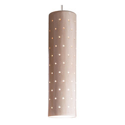 A19 - Stellar Mini Pendant - Tan - Like a starry sky, the Stellar mini pendant glows with light through a pattern of tiny perforations over its slim, cylindrical shape. With so many hand-applied glazes to choose from, Stellar can be sleek and urbane, warm and earthy, or light and gentle. Group in a row along a bar or hang at different heights for an entry way.