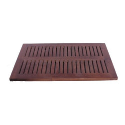 """DecoTeak - 23 in. x 15 in. Teak Spa Shower and Floor Mat - Made from plantation grown sustainably harvested solid teak that is naturally water, and mildew resistant.. Slip resistant rubber tracks underneath. slats for ease of water drainage. Provides attractive bathroom, shower, or outdoor accent. Attractive spa design coordinates with other spa family teak bathroom products.. No assembly required. 30 day satisfaction guarantee.  provides comfortable surface for standingUse in the shower, bathroom, or outdoors. Stain:  Deco Teak deep penetrating indoor outdoor golden brown. No Assembly Required. Size:  23"""" Length x 15.6"""" Width x 1"""" Height. Product Weight: 6 lbs."""