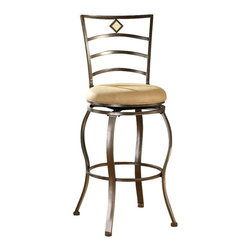 Hillsdale Furniture - Swivel Bar Stool w Curved Ladder Back, Padded - For residential use. Upholstered in beige microfiber. Features a traditional slat back accented by a fossil stone filled diamond motif. Flecked brown Finish. 20 in. W x 17.5 in. D x 45 in. H. Seat Height: 30 in. HThe Marin stool, upholstered in the always popular beige microfiber, and finished in a flecked brown, features a traditional slat back accented by a fossil stone filled diamond motif. These stools are all elegant alone as well, and would make fine additions to your kitchen or bar area.