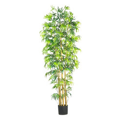 Nearly Natural - 7' Bambusa Bamboo Silk Tree - Not for outdoor use. Proud appearance and tradition of luck. Stunning with it's vibrantly colored green leaves. Boasting thousands of airy bamboo leaves. Included Non Decorative Nursery Pot size: 7.75 in. W X 7 in. H37 in. W X 37 in. D X 7 ft. H (18lbs). Our 7' multi-bambusa Bamboo silk tree takes center stage in any room. Thousands of airy bamboo leaves dangle from multiple tall natural stalks. Suitable for any home decor style, this Bamboo would look especially lovely as part of an oriental or zen inspired design plan. Our Multi-Bambusa Bamboo is also appropriate for placing among live plants in sunrooms, solariums, or even the office.