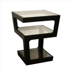 Wholesale Interiors - Baxton Studio Clara End Table - A unique end table option, this contemporary table offers triple tempered glass surfaces for storage and display. The black oak frame descends from the top surface to the bottom in two opposite corners for each level, leaving each space with a wider gap for easy access. Features: -Baxton Studio collection. -Black finish. -Veneer wood construction. -Contemporary style. -Three tiered design with tinted tempered glass shelves. -MDF wood.