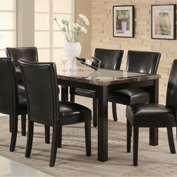 Coaster - Carter Faux Marble Top Dining Table - The Carter dining table base and legs are finished in a deep cappuccino,complemented by the smooth faux marble top that looks as luxurious as it feels. With soft round edges and cream colored center inlay,this table is sure to impress.