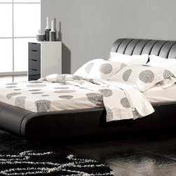 Zuri Furniture - Dior Leather Platform Bed, King - This platform bed's clean modern lines and padded channelback headboard create a comfortable appeal in classic black leather. Chic and luxurious, Dior is for the designer in all of us.