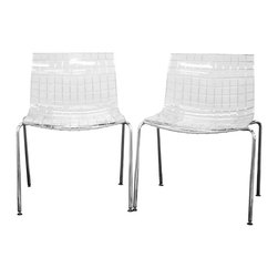Baxton Studio - Baxton Studio Obbligato Transparent Clear Acrylic Accent Chair (Set of 2) - This transparent clear acrylic chair draws its inspiration from the shape of a square.  From the seat itself to the dozens of squares molded into the acrylic itself, it can be seen in nearly every inch of the design.  The base is made of chrome-plated steel tubing and includes ball and socket feet in a black plastic.  As a bonus, these chairs are stackable.  This chair requires some assembly.