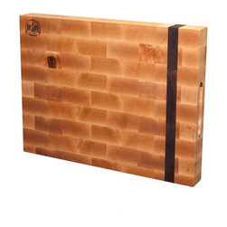 "Rust & Grain Premium End-Grain Cutting Board - Maple board with Walnut strip, End-grain cut, finished with oil & wax; Dimensions: 18"" x 13-1/2"" x 2"" thick; Routed hand grips on each end and laser burned R&G logo on face."