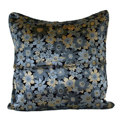 Pre-owned Silver Daisy Silk Brocade 20x20 Pillow - Flower Power! Layering on the perfect throw pillow is the cherry on top for achieving an effortlessly styled effect in your room. This adorable 20x20 silver silk pillow features a daisy design, piping, a down/feather insert, and a hidden zipper on the back.    We have 2 pillows available. If you would like more than one, please contact support@chairish.com.