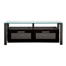 Plateau Decor 50 Inch TV Stand in Black on Black - Simplify your living room by organizing your audio/visual equipment in the innovative and stylish Plateau Decor 50 Inch TV Stand in Black on Black. Combining black wood and metal elements with crystal clear glass, this stand has a striking high tech look that will complement your modern style. The base cabinet is made of black wood veneers and offers two compartments for your components, game controllers, or DVDs. Each front door opens on precision hinges and features a frosted glass front panel that subtly disguises the contents.Your up to 56 inch flat panel TV will be beautifully showcased on the spacious top shelf, which is made of 0.5 inch thick clear safety glass with smooth, polished edges. Black welded heavy gauge steel tubes make up the frame and impart strength, stability, and industrial style. The back panel is ventilated and features cord management openings for your convenience. The wood cabinet arrives to you already built, so the rest of the assembly process is quick and painless.About Plateau CorporationPlateau Corporation utilizes the finest materials to provide you with state of the art audio and video home theater furniture systems. Entertainment centers created by Plateau Corporation are a fusion of innovative engineering and contemporary design. Their product list includes entertainment centers, media storage, TV armoires, and TV stands that are all are easy to assemble, incredibly durable, and specially made to highlight your audio/video system. Their unique entertainment centers can grow as your system grows.