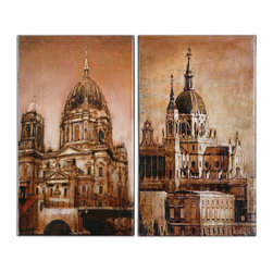 Uttermost - Antique Architecture Canvas Art, Set of 2 - Adore architectural art? Treat yourself to this beautiful set of hand-painted basilicas on canvas. Forever preserved in a handsome patina, the ornate domes, decorative niches and stately steeples of this stretched canvas artwork add a timeless elegance to your traditional spaces.