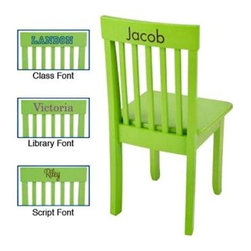 "KidKraft Personalized Avalon Key Lime Chair - Brighten up your child's bedroom with the sturdily crafted maximum comfort KidKraft Personalized Avalon Key Lime Chair. Finished in cheerful key lime green this child-sized chair is built for comfort and classic style and will fit most child-sized tables. Durably crafted in long-lasting Rubberwood and composite wood it will last for hours of play and repetitive rugged use. Dimensions: 13.75L x 13.13W x 26.75H inches. The Beauty and Benefits of RubberwoodHailing from the maple family of trees the rubber tree is used in the manufacture of high-end furniture. This durable Asian hardwood is valued for its dense grain minimal shrinkage attractive color and acceptance of different finishes. It is also prized as an """"environmentally friendly"""" wood as it makes use of trees that have been cut down at the end of their latex-producing cycle. About KidKraftKidKraft is a leading creator manufacturer and distributor of children's furniture toy gift and room accessory items. KidKraft's headquarters in Dallas Texas serves as the nerve center for the company's design operations and distribution networks. With the company mission emphasizing quality design dependability and competitive pricing KidKraft has consistently experienced double-digit growth. It's a name parents can trust for high-quality safe innovative children's toys and furniture."