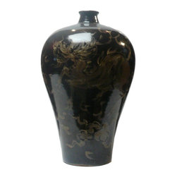 "Golden Lotus - Chinese Ceramic Black Glaze Golden Kirin Vase - Dimensions: Dia 11"" x h16.5"""