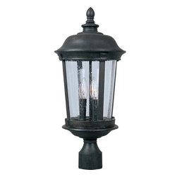 Joshua Marshal - Three Light Bronze Seedy Glass Post Light - Three Light Bronze Seedy Glass Post Light
