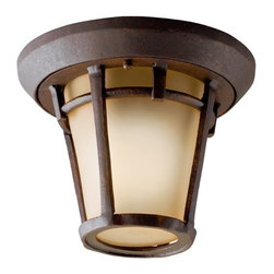 KICHLER - KICHLER 9555AGZ Melbern Transitional Outdoor Flush Mount Ceiling Light - Handsome and well suited for a range of home exterior styles. This 1 light hanging fixture in the Melbern family with its Aged bronze finish and light umber etched glass will provide a warm welcome to guests. It is U.L listed for damp locations and 90° C Wire Rated.