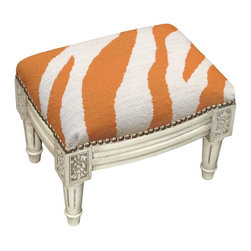 123 Creations - Zebra Wool Needlepoint Wooden Footstool. Antique white wash. - This hand-crafted footstool is upholstered with hand-needlepoint. An unique and  beautiful accent furniture piece. Solid wood frame is hand-carved with hand-applied brass nail heads.