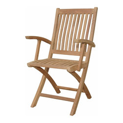 Anderson Teak - Tropico Folding Armchair - One of our most economical folding chair that will spice up your patio. It is easy to fold and it comes with handle to carry the chair when you want to store it somewhere. It comes 2 chairs per order. Cushion is optional and is being made by order.