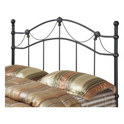Monarch Specialties - Monarch Specialties 2621Q Queen/ Full Combo Headboard or Footboard - This sophisticated headboard will be a wonderful focal point in your casual contemporary bedroom. It features an arched crown, vertical slats with gold round finials and twisted rope draping details that add a soft romantic touch to the bedroom. Finished with a hammered black metal, this piece can be used as a queen or full size and will help create a fresh look in any bedroom.
