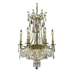 "PWG Lighting - Telfour 9-Light 22""D Crystal Chandelier 7913D22AB-EC - Cast brass arms and finely detailed rings and center columns accented by glamorous crystal beading evoke royalty in this Telfour Collection. Coordinating crystal baskets complement these stately designs."