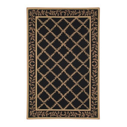 Safavieh - Safavieh Hand-hooked Trellis Black/ Beige Wool Rug (3'9 x 5'9) - This hand-hooked contemporary design features timeless looks from a pure virgin wool pile providing comfort and softness to the touch made from an all-natural material.