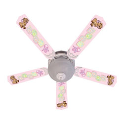 Ceiling Fan Designers - Ceiling Fan Designers Baby Nursery Toys Blocks Indoor Ceiling Fan - Pink - 42FAN - Shop for Child Proofing and Safety Supplies from Hayneedle.com! Pretty in pink the Ceiling Fan Designers Baby Nursery Toys Blocks Indoor Ceiling Fan - Pink is perfect for her nursery today and will grow with her too. This ceiling fan and light kit combo has a cute bear and baby block design and is designed to last. It comes in your choice of size: 42-inch with 4 blades or 52-inch with 5. The blades are reversible so when she outgrows the baby block design you can simply flip it to soft white. It has a powerful yet quiet 120-volt 3-speed motor with easy switch for year-round comfort. The 42-inch fan includes a schoolhouse-style white glass shade and requires one 60-watt candelabra bulb (not included). The 52-inch fan has three alabaster glass shades and requires three 60-watt candelabra bulbs (included). Your ceiling fan includes a 15- to 30-year manufacturer's warranty (based on size). As practical as it is adorable!