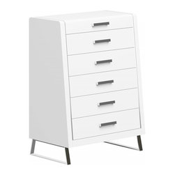 White Line Imports - Bahamas High Gloss White Chest - Uniquely designed silhouette, spacious drawers and crisp, High Gloss White finish will brighten up your bedroom space and make it more organized.