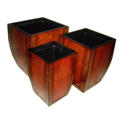 Cheung's - Wooden Curve, Tapered Square Planter, Container - Set of 3 - This stunning curve shaped planters is an extraordinary addition to your home decor settings. Comes with wide open square shaped mouth best suits your home garden. Set of three various sizes can be placed anywhere by your choice. Small (S): 9 in. L x 9 in. W x 16 in. H. Medium (M): 11.5 in. L x 11.5 in. W x 17.5 in. H. Large (L): 14.25 in. L x 14.25 in. W x 19 in. H