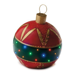 Red & Green Fiber-optic Ornament - Frontgate - Outdoor Christmas Decorations