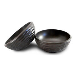 Enrico - Casual Dining Salad Bowl in Chocolate Finish - Set of 2 - Set of 2. Hand-carved. Easy care food-safe. Hand wash for best results. Cleans up easily. Made from environmentally-friendly reclaimed mango wood. Lacquer finish. Made in Thailand. 6 in. Dia. x 2.5 in. H. Interior damp rated for use. Warranty: 90 days limited. Casual dining collection. Interior damp use. Warranty: 90 days limited. Casual dining collectionGreat little mango side salad bowls match their respective Casual Dining salad bowls in material, color scheme and design for a stylishly dressed table. We recommend hand washing and drying for all items. These stylish bowls are carved from mango trees grown in Thailand's vast mango plantations. The Mango tree bears fruit for about 20 to 30 years, after which time it is cut down by the farmer to make room for new seedlings. The creamy, dense mango wood is then reclaimed by local craftsmen for carving into a wide variety of beautiful products. The artisans working mango wood pay careful attention to the individuality of each and every raw slab of wood that comes into their hands, and the results are wonderful. Each piece in this collection has a live edge of contrasting tree bark around the rim which reminds one that each tree has a character and texture all its own.