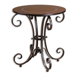 Uttermost - Matthew Williams Tyra Accent Table - Designer: Matthew Williams. Made of Metal & Mdf. 26 in. W x 26 in. D x 28 in. HFeatures decorative hand forged metal base in an ancient bronze finish with studded faux leather top.