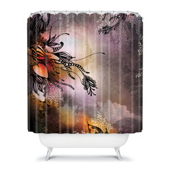 """DENY Designs - Iveta Abolina Polyester Rain Shower Curtain - Who says bathrooms can't be fun? To get the most bang for your buck, start with an artistic, inventive DENY Designs shower curtain. We've got endless options like this shower curtain that will really make your bathroom pop. Heck, your guests may start spending a little extra time in there because of it! Features: -Iveta Abolina collection. -Pattern color: Purple. -Front color: Full color. -Back color: White. -Material: Woven polyester. -Buttonhole openings (shower rings not included). -Machine wash cold, tumble dry. -Made in the USA. Dimensions: -69"""" H x 72"""" W, 4 lbs."""