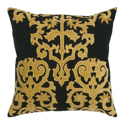 Rizzy Home - Rizzy Home TR4024 Decorative Throw Pillow Multicolor - TR4024 - Shop for Pillowcases and Shams from Hayneedle.com! Majestic in its black and gold design this Rizzy Home TR4024 Decorative Throw Pillow makes a designer statement on your sofa. A masterful throw pillow this one is made of cotton flax in black with a regal applique pattern in gold and embroidery detail. It features a hidden zipper and removable insert. Dry clean only.About Rizzy HomeRizwan Ansari and his brother Shamsu come from a family of rug artisans in India. Their design color and production skills have been passed from generation to generation. Known for meticulously crafted handmade wool rugs and quality textiles the Ansari family has built a flourishing home-fashion business from state-of-the-art facilities in India. In 2007 they established a rug-and-textiles distribution center in Calhoun Georgia. With more than 100 000 square feet of warehouse space the U.S. facility allows the company to further build on its reputation for excellence artistry and innovation. Their products include a wide selection of handmade and machine-made rugs as well as designer bed linens duvet sets quilts decorative pillows table linens and more. The family business prides itself on outstanding customer service a variety of price points and an array of designs and weaving techniques.