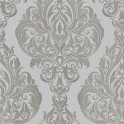 Graham & Brown - Kinky Vintage Wallpaper - The subtle mix of soft grey flock and shimmering silver metallic background gives an air of real sophistication to any room. This beautiful damask flock wallpaper is style personified . Designed for us by Laurence Llewellyn Bowen this stunning paste the wall flocked wallpaper is a firm favourite.