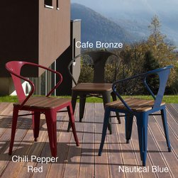 None - Jardin Outdoor Chair (set of 4) - The perfect way to sit and enjoy nature, these durable outdoor chairs come in a set of four, which is ideal for entertaining friends. They feature a solid wood seat for added durability, and they stack easily to save space when not in use.