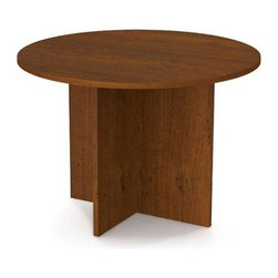 Bestar 42 in. Round Meeting Table - Tuscany Brown - Brighten your office surroundings with the smart and stylish Bestar 42 in. Round Meeting Table - Tuscany Brown. This 42-inch-wide table comfortably seats four co-workers with plenty of elbow room so you can get down to business. The smooth tabletop is a full one-inch thick for strength with a hard commercial-grade melamine veneer that resists scratches and stains and cleans up with an easy wipe. The handsome wood pattern has a medium Tuscany Brown finish that fits any office decor. Stable X-pattern legs look great and have individual levelers to prevent wobbling - perfect for meetings work spaces or employee lounges. Meets or exceeds AINSI/BIFMA standards. Assembles easily. Creates a warm and comfortable work environment.About BestarEstablished in 1948 and based in Canada Bestar is a third-generation family business involved in the design manufacturing and distribution of a wide range of ready-to-assemble furniture and furniture components. Bestar's mission is to create produce and distribute mid- to high-end ready-to-assemble furniture for home offices small commercial offices and home entertainment. Bestar offers a combination of price quality and service that exceeds the expectations of customers and consumers.