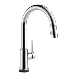 Delta - Delta Trinsic Lead Free Single Handle Pull Out Kitchen Faucet Featuring Touch2O - Sleek elegance of modern design is embodied in the Trinsic Kitchen Collection. MagnaTite docking keeps the pull-down wand mounted securely in place and DIAMOND Seal Technology provides enhanced reliability and performance. Available in Stainless Steel, Chrome, or Champagne Bronze finishes.