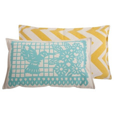 Contemporary Decorative Pillows Thomas Paul Banner Aqua Cotton Pillow