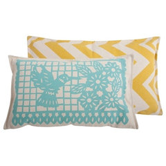 contemporary pillows Thomas Paul Banner Aqua Cotton Pillow