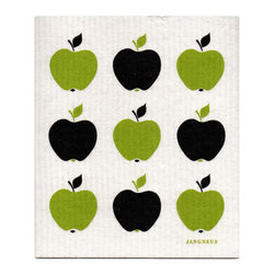 Jangneus - Swedish Dishcloth, Small Green Apples - THE SWEDISH ECO-FRIENDLY DISHCLOTH: The dry sponge cloth was invented in 1949 by the Swedish engineer Curt Lindquist, who discovered that a mixture of natural cellulose (wood pulp) and cotton can absorb an incredible 15 times its own weight in water.