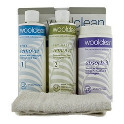Wools of New Zealand - WoolClean Carpet Spot Removal Kit - Easily clean wool carpet with the Wool Clean Carpet Spot Removal Kit which is safe for all carpet fibers and effectively cleans spots and spills on your wool carpets. This is a complete kit to clean wool carpet which includes bottles of spot remover, dry spot remover, absorb it powder and a cleaning cloth. Finally, you can easily clean wool carpet!