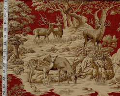 Deer Fabric Red Toile Woods Nature Woodland Lodge - A deer fabric. This red deer toile fabric is a woodland nature fabric. If you need a lodge fabric or a woodland fabric this is perfect. There is a co-ordinating fabric with feathers floating over a plaid background.