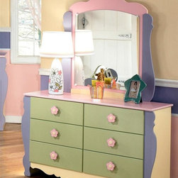 Signature Design by Ashley - 2 Pc Dresser Set - Set includes Double Dresser and Mirror. Soft pastel multi-colored green, lavender, pink, and yellow finish. Exaggerated traditional silhouette style for a fun look. Pink and yellow flower motif handles. Side roller glides for smooth operating drawers. Color/Finish: Pastel. Double Dresser: 51 in. W x 16 in. D x 30 in. H. Mirror: 36 in. W x 2 in. D x 40 in. H