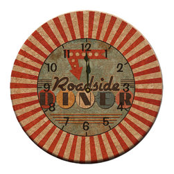 Dinner on the Road Clock - When you're traveling by car, diner food is a must. Bring this clock home and cook up some hamburgers and fries for your own at-home diner experience.