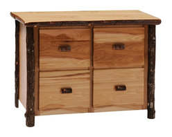 Fireside Lodge Furniture - Hickory 4 Drawer File Cabinet (Rustic Maple) - Finish: Rustic MapleHickory Collection. 4 Drawers. Fits legal or standard size files. Full-extension glides rated at 100 pounds. Rods for hanging file folders. All Hickory Logs are bark on and kiln dried to a specific moisture content. Clear coat catalyzed lacquer finish for extra durability. 2-Year limited warranty. 42 in. W x 24 in. D x 34 in. H (185 lbs.)