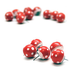 Magic Mushrooms - The Push Pins - Take your notes for a trip with magic mushrooms - the push pins.  These push pins, which feature a spotted red mushroom-esque top, will make your work space more fun and add a magical touch to your cork board.