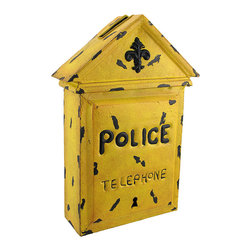 Zeckos - Yellow Metal Police Telephone Box Wall Art Letter Box - This old fashioned letter box adds a neat accent to your home or office. Made of metal, it measures 14 1/2 inches tall, 9 1/2 inches wide, and 3 3/4 inches deep. It has a slot on the top for pieces of mail, customer comment cards, or employee suggestions, and has a piece that slides open on the bottom to retrieve the letters or cards. It has a wonderful distressed finish, making it look antique, and is sure to be admired.