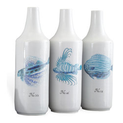 Kathy Kuo Home - Trio Hand Painted Coastal Style Beach Blue  Fish Vase - Go fish! Hand-painted coral fish straight from the Caribbean add a soothing shot of color to this trio of tall porcelain vases. Use singly or group them together, fill with blooms or let them stand all on their own.