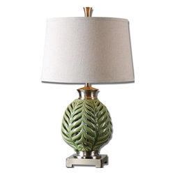 Uttermost - Flowing Fern Green Table Lamp - If you're longing for a green thumb, only to be disappointed time and again, fear not! Just bring in this pretty, crackled, lime green table lamp with brushed nickel details and call it good. No watering required.