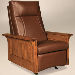 Chelsea Home - Handcrafted Rocker Recliner - Tongue-in-groove construction. Zippered cushion. Webb rider coil spring construction. Seat cushions are made with high quality F2.7 35 lbs. density polyurethane foam. Back cushions are constructed with F1.5 12 lbs. density foam cores. Rocker reclines by pushing back. Medium seating comfort. Long lasting durable frame. Mortise and tenon joint construction. Made from hardwood. White quarter sawn and Michael's cherry stain finish. Made in USA. No assembly required. 33 in. W x 38 in. D x 43 in. H (105 lbs.)What makes heirloom quality furniture? Its knowing how to turn a house into a home. Its clean lines, ingenuity and impeccable construction the best nature has to offer. Its creating memories. Its ensuring the furniture you buy today will still be the same 100 years from now. Every piece of furniture in our collection is built by expert furniture artisans with a standard of superiority that is unmatched by mass-produced composite materials imported from Asia or produced domestically. Many pieces are signed by the craftsman that produces them, as these artisans are proud of the work they do. So adorn your home with a piece of furniture that will be future history, an investment that will last a lifetime.