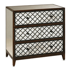 "Currey & Company - Currey & Company Sabrina Three Drawer Large Chest - The Sabrina chest by Currey and Company recalls the glamour of vintage Palm Beach d��_��_cor with antiqued mirror drawerfronts boasting lattice overlay. The simple shape of this luxe storage piece makes it an easy addition in a bedroom, living room or foyer. 31""W x 19""D x 33""H; Wood and mirror; Antiqued mirror and mahogany finish; 3 drawers with iron pulls; Hand finished"
