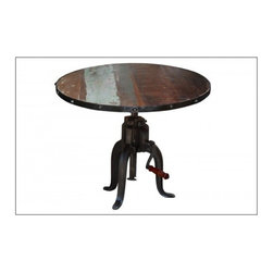 """YOSEMITE HOME DECOR - Industrial Adjustable  Round T - This height adjustable cocktail table is a perfect addition to any living or great room. The solid mango top adjusts from 19""""-27"""" in height. A cast iron tri-leg base features a hand crank to raise or loser the table top. Made in India.    Item Dimension in 1.2inches Width X 19inches Depth X 19inches Height"""